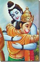 Rama hugging Hanuman