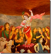 Krishna lifting Govardhana Hill