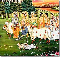 Krishna and friends in Vrindavana