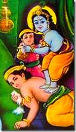 Krishna and friends stealing butter