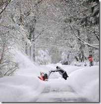 [Clearing snow]