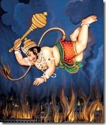[Hanuman with fiery tail]