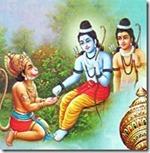[Rama giving ring to Hanuman]