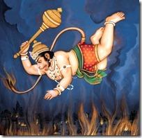[Hanuman burning down Lanka]