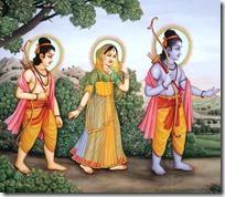 [Rama, Sita, Lakshmana walking in forest]