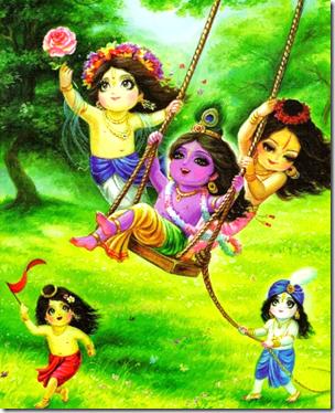 [Krishna and friends in Vrindavana]
