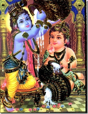 [Krishna and Balarama stealing butter]