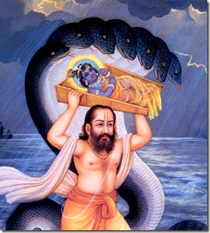 [Vasudeva carrying Krishna across Yamuna]