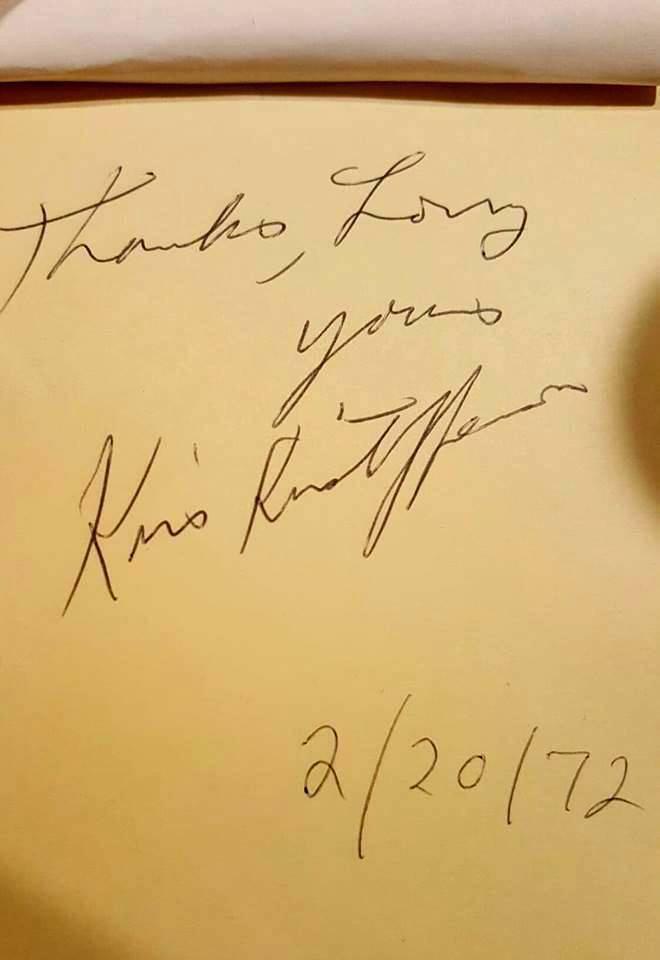 kris Kristofferson 1972 autograph