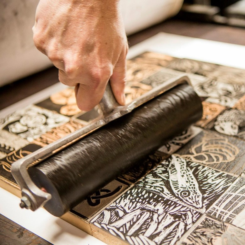 Printmaking on Galiano with Kit and Peter