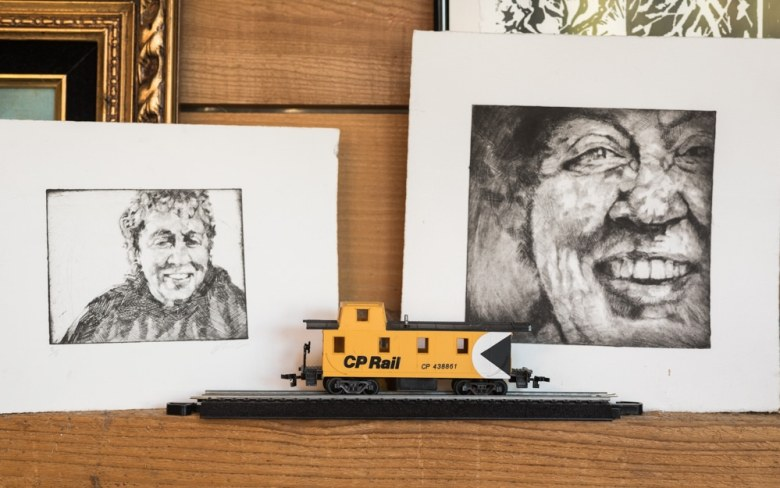 Prints of Kit Grauer made in the Boathouse Studio by artist Jeremy Crowle