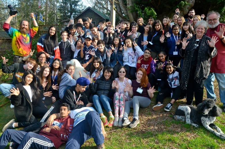 Galiano Island Relief Retreat Workshop 2019 with students from South Pointe High School