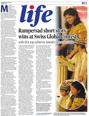 Kris Rampersad Short Story named winner in contest