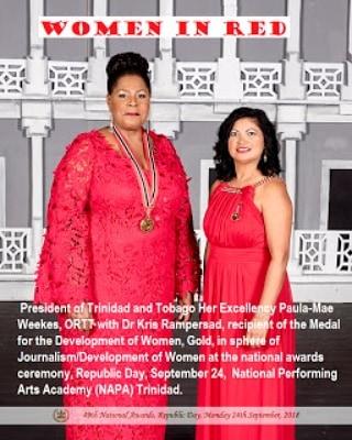 Ladies in Red Her Excellency Paula Mae Weekes and Dr Kris Rampersad