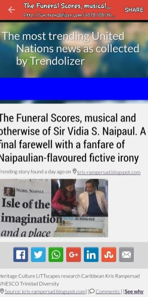 Kris reflecton Naipaul Funeral trends with global thinktanks