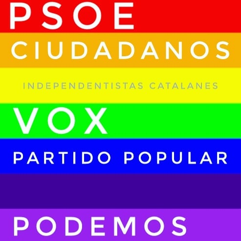 The colours of Spanish politics. They are missing just another political party to carry an indigo flag. .#love #followback #instagramers  #PleaseForgiveMe #tweegram #photooftheday #20likes #amazing #smile #follow4follow #like4like #look #instalike #igers #picoftheday #food #instadaily #instafollow #followme #gay #instagood #bestoftheday #instacool #pride #follow #colorful #style #swag @mediasetEspaña #España #Spain