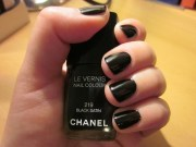 basics chanel black satin