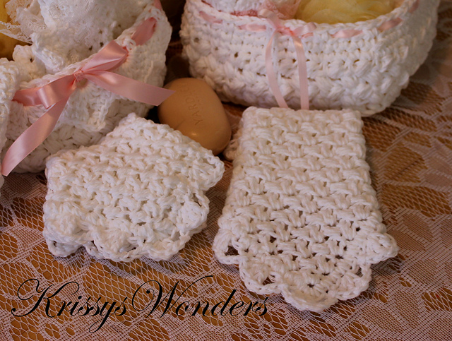 Vintage Inspired Washcloth #3 – Crocheted Clusters