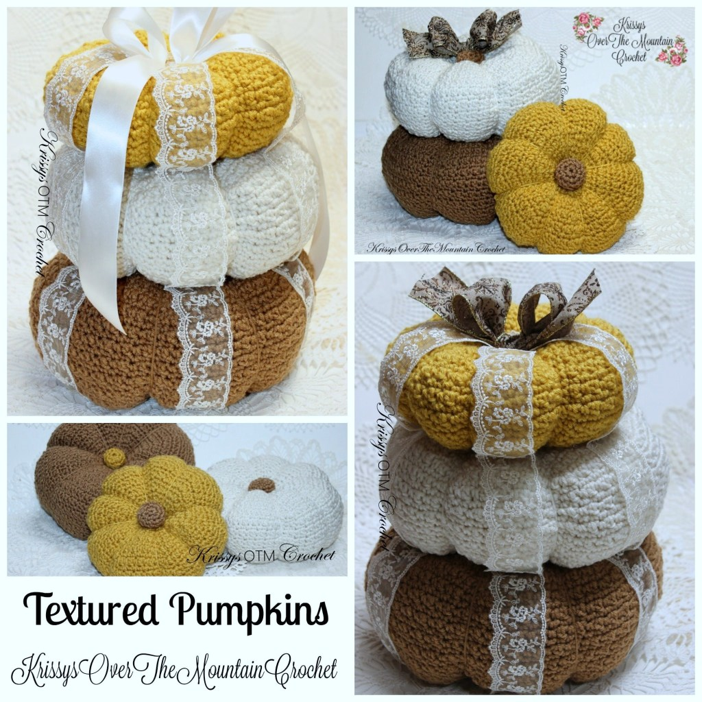 These textured pumpkins are so much fun to crochet. Embellishing them is just as much fun or leave them plain. Decorating your home this fall has never been so much fun!