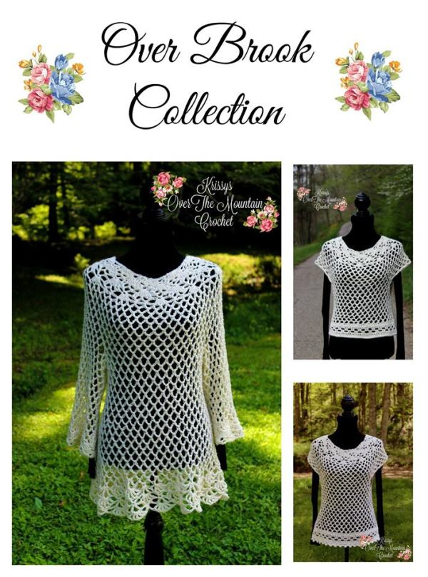 What a lovely collection of crocheted tunics. So many options. Short sleeve, no sleeve, below the elbow sleeves. The length of the tunics and the edging are all different as well. You can style your own Over Brook Tunic of top.