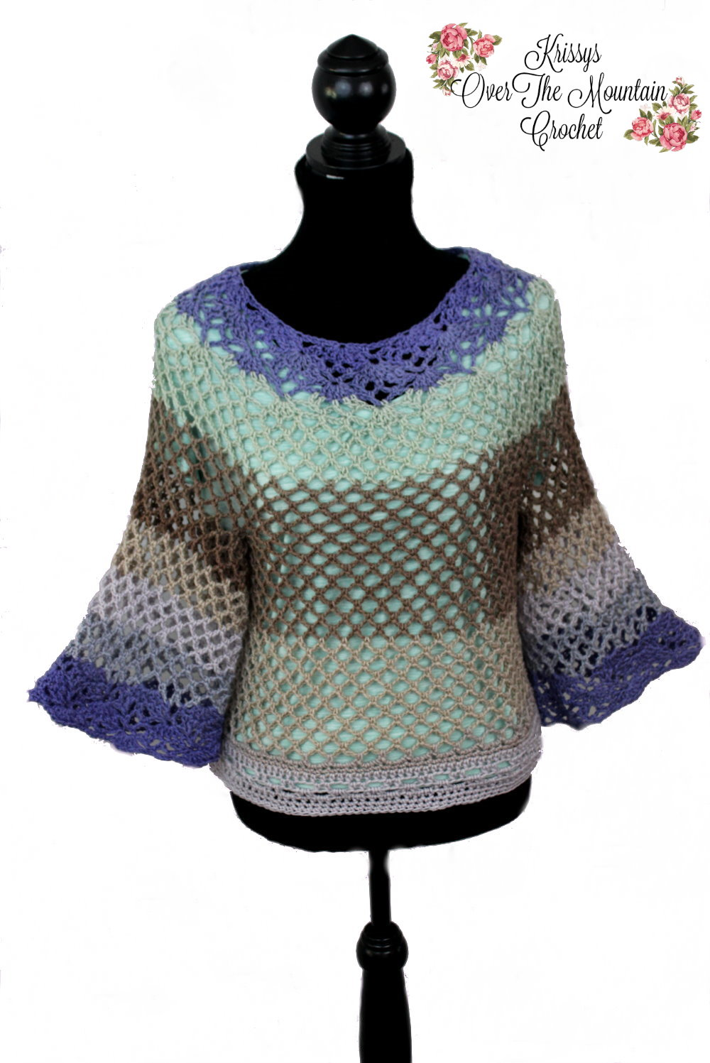 Over Brook Tunic made with DC Colors yarn. Easy tunic crochet pattern.