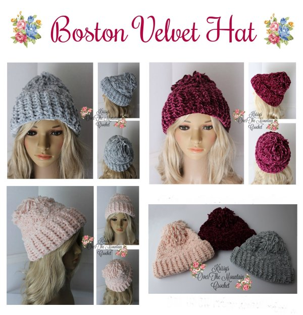 Crochet this Boston Velvet Hat using velvet yarn and simple stitches. The large turned up brim with the floppy mop pom makes it looks like a snowboarder's hat, plus it's cute and warm.