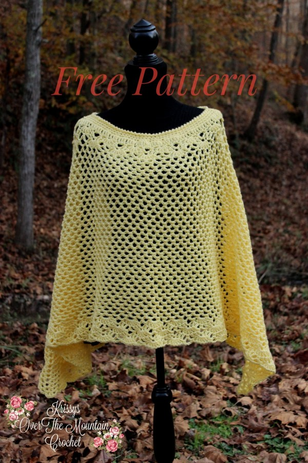 You will love crocheting this Fall Mesh Poncho! Use a worsted weight yarn for that added warmth needed on those cool evenings strolling through your local Fall Festival.