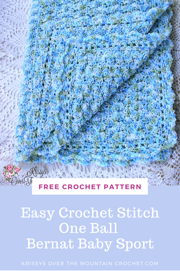 It only takes one ball of Bernat Baby Sport to make this baby blanket. The stitch is super easy! The pattern sequence makes it a pattern that you can watch TV and crochet without missing a stitch.