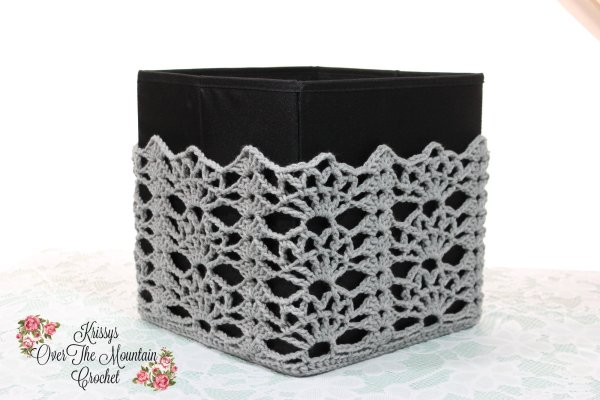 Decorate a storage bin with a lace crochet cover. They can be beautiful once again! Great to spruce up a dorm room or yarn storage area! What a great idea is what folks keep saying to me about these lovely covers.