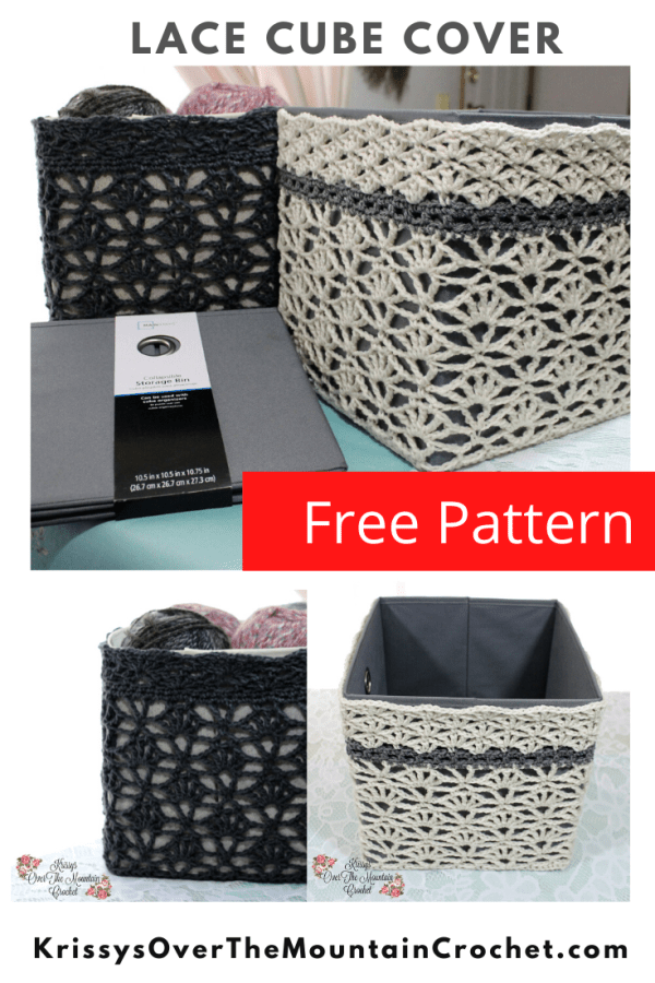 Photo Collage of the Over Brook Lace Storage Bin Cover.