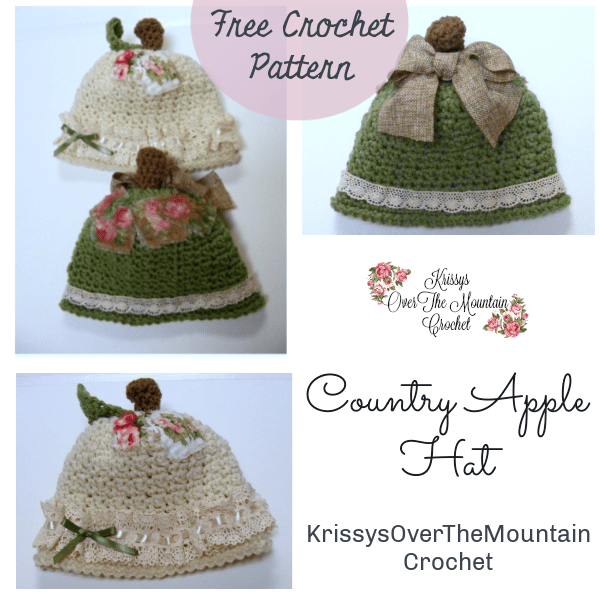 What a sweet Country Apple Hat. Embellish it with sweet lace and ribbon...frayed fabric patches. Embellish to your hearts content.
