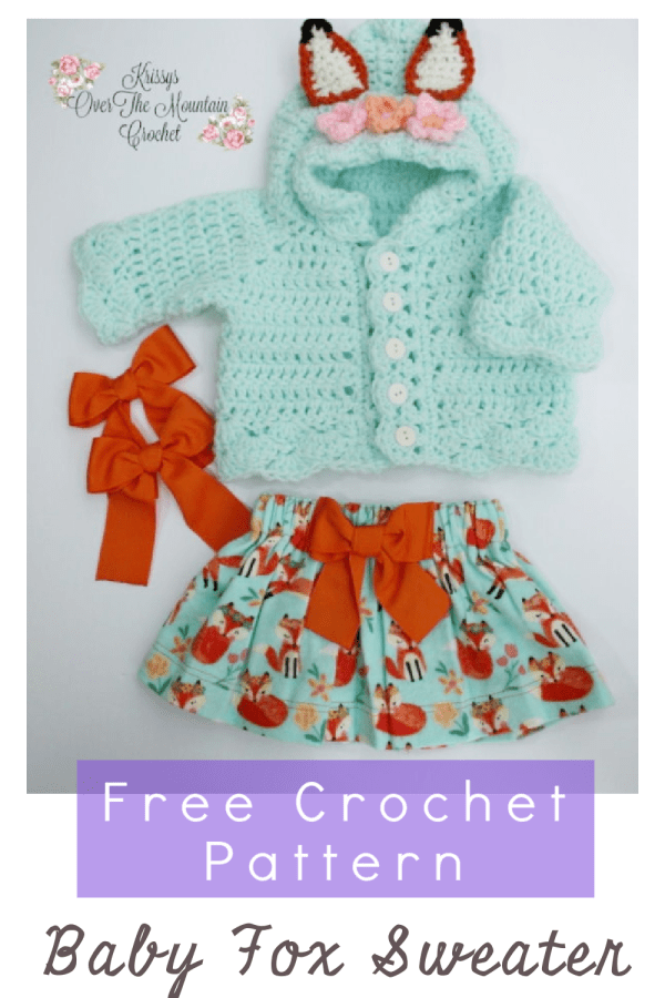 Crochet this Baby Fox Sweater using this free pattern. It is fast and quick. Uses worsted weight yarn. You may have a bit of fox fabric to make a matching clothing item to match.