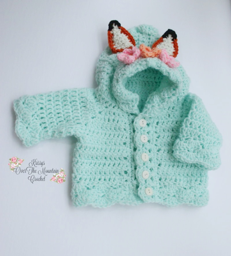 Crochet this adorable Baby Fox Hoodie for your sweet baby. I love the flower crown on the hood, and those fox ears? So precious. Easy to read crochet pattern and easy to find yarn.