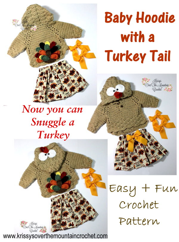 What a sweet little Turkey Tail Sweater. Snuggle those little ones this Thanksgiving.