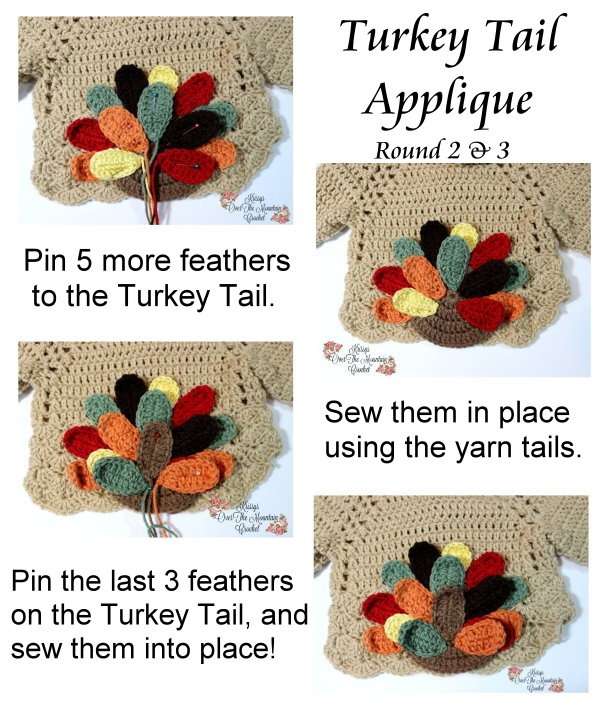 The last two rounds of turkey feathers to complete the Turkey Tail Applique.