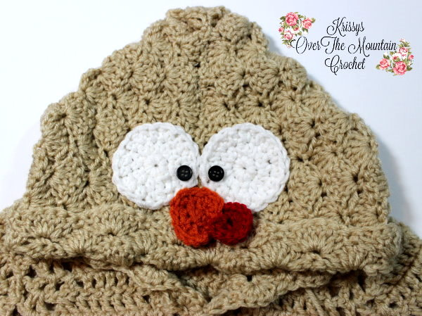 Crochet this turkey face and applique it to the hood of the sweet Turkey Tail Hoodie that I designed. You can add this to any crocheted sweater, hat or how about the back side of a pair of baby's pants?