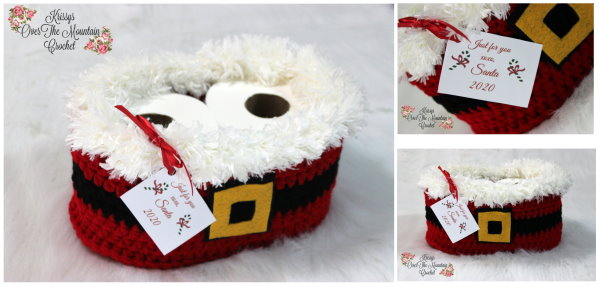 What a fun Santa Toilet Paper Basket. How much fun to give these as gifts, or crochet a bunch of them and sell at craft shows. This design is a perfect reflection of your times.