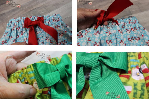 Let's stich the bow to the waistband of the girls Christmas Skirt. Pin the bow in place, making sure there is a gap to allow the elastic to stretch. Top stitch the bow in place on both sides. Add a bar tack to the bow tails to keep them in place.