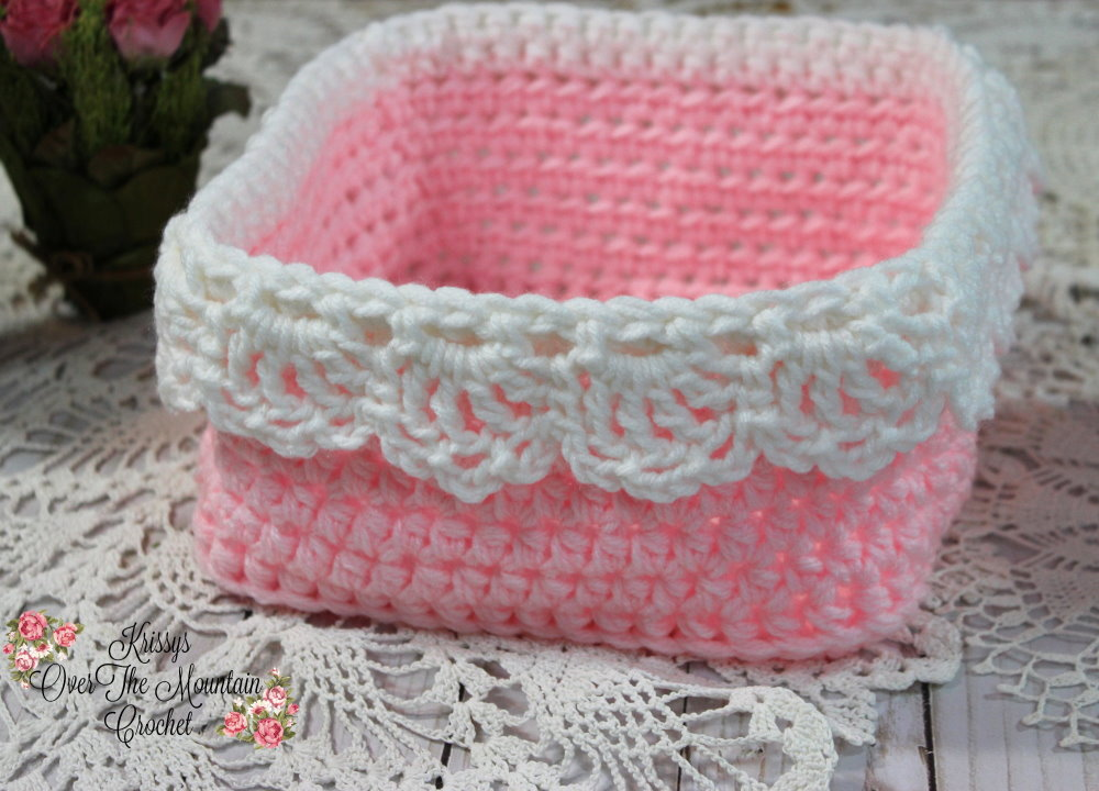 A large square basket with drop over lace for you to make in a quick crochet minute. Perfect for gift giving.