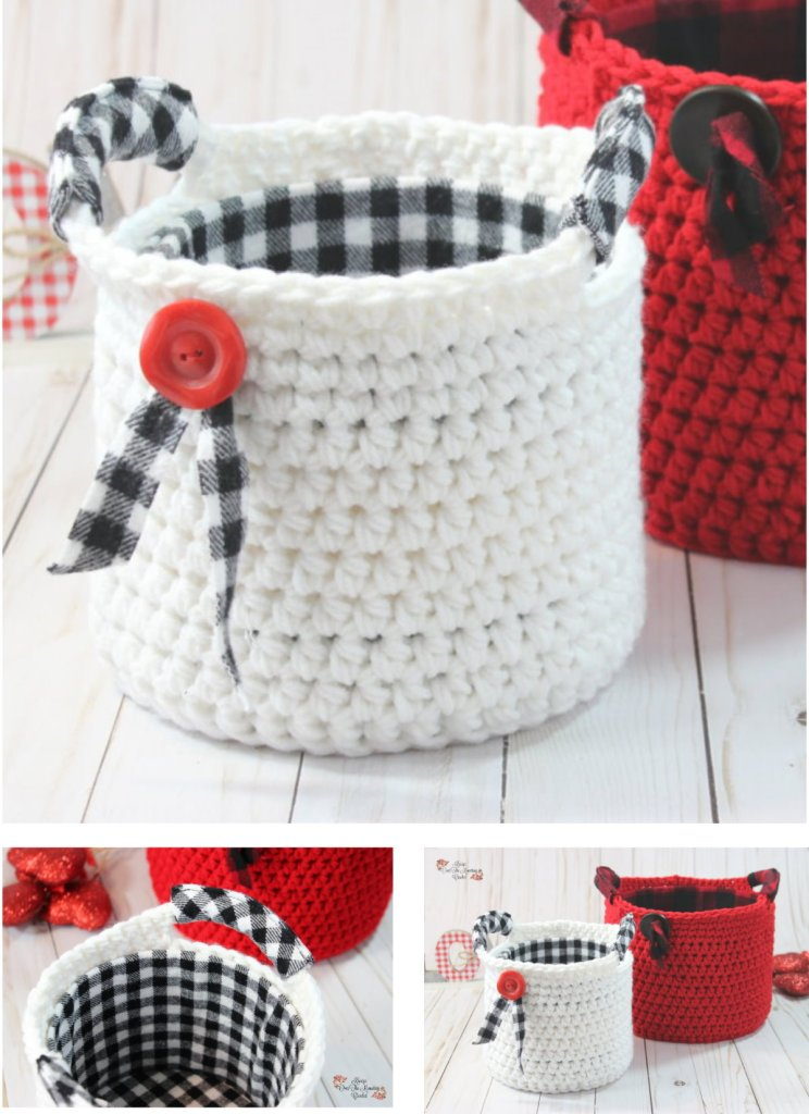 This small basket with handles is easy to crochet and it's so fun to add that flannel as a lining and on the handles.