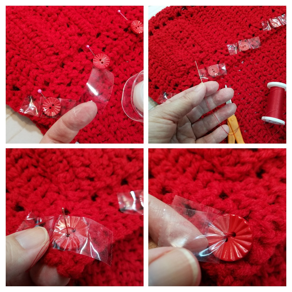 1. Tape the buttons in place. 2. Sew button to sweater using needle and thread. 3. leave the tape in place while sewing the button on. 4. easily remove the tape when you are finished.