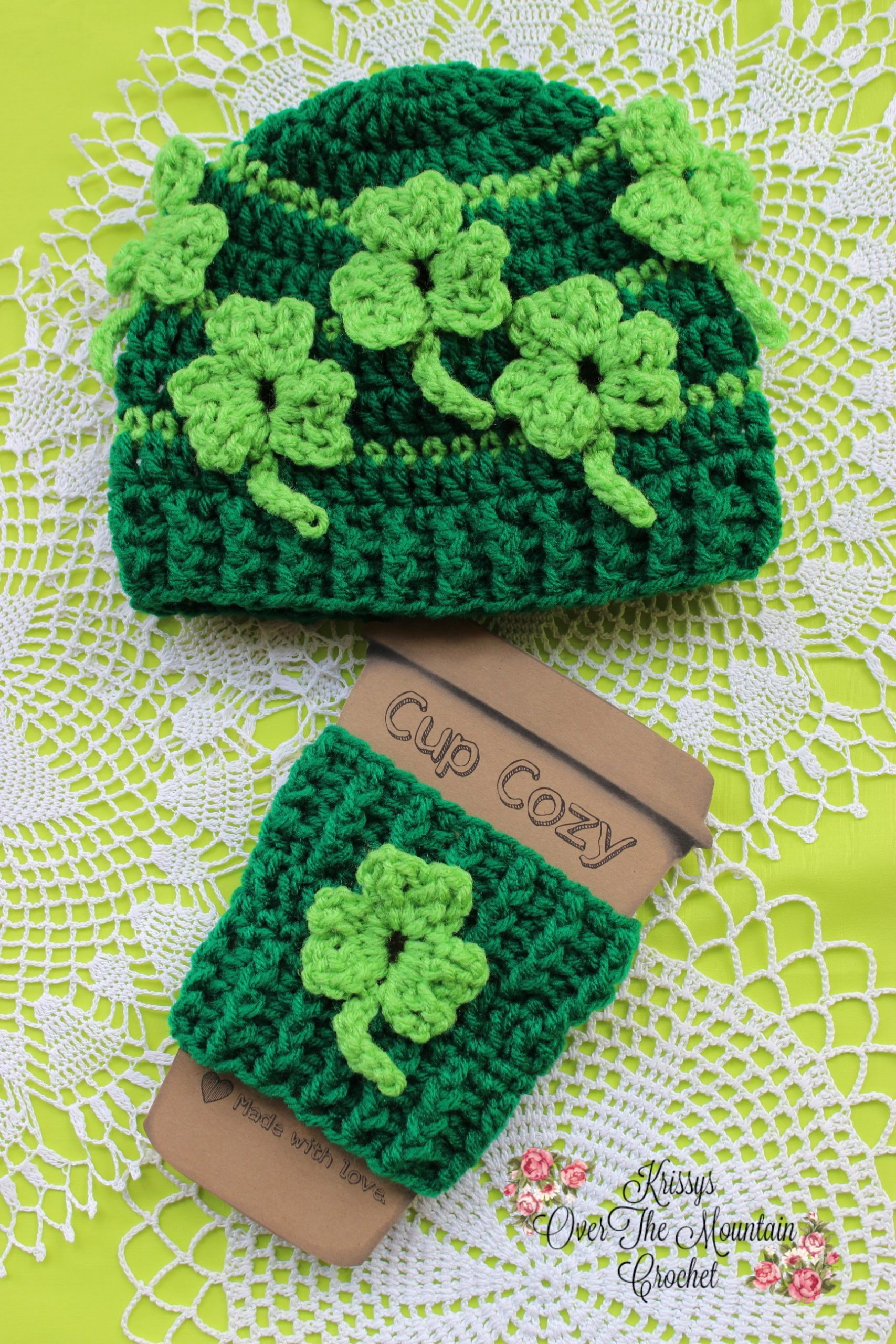 This St. Patrick's Day Beanie is so much fun to crochet. Those shamrocks float and are made as you crochet. No applique or sewing is needed.