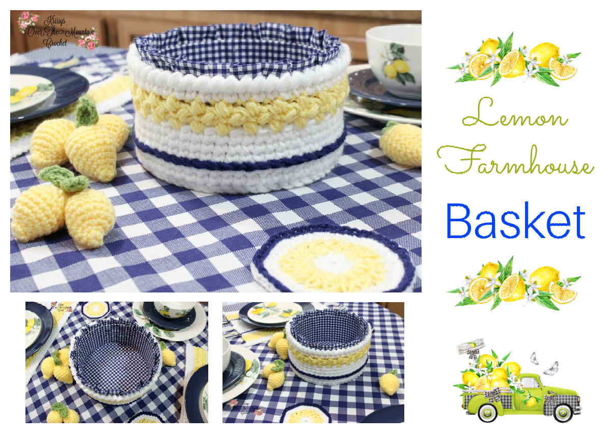 A Lemon Farmhouse Basket for you to crochet for your table. Then follow the video and I will show you how to add the stiff, ruffled fabric liner.