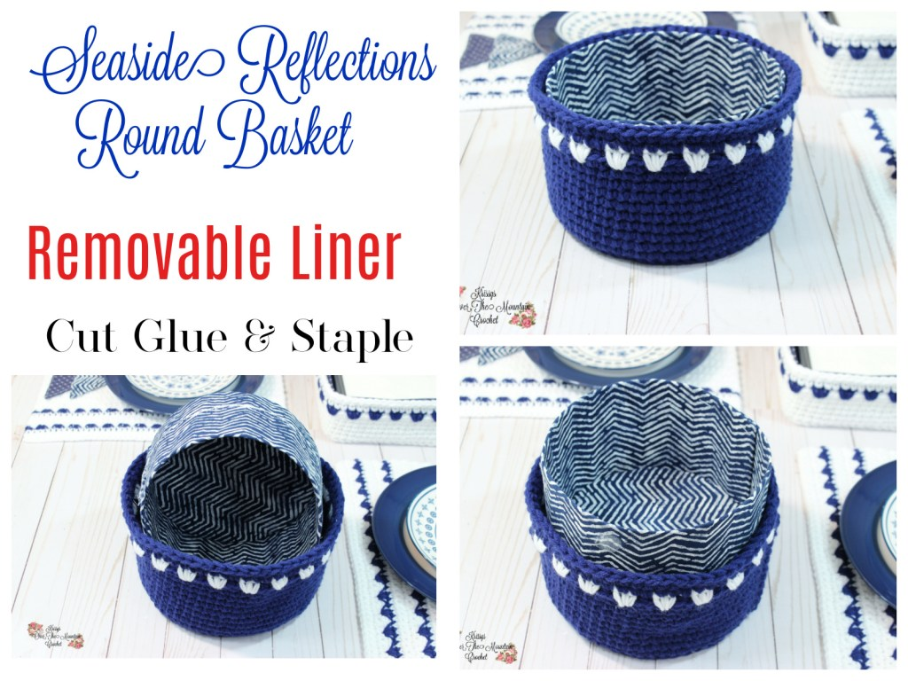 Crochet this round basket and then make a stiff removable liner
