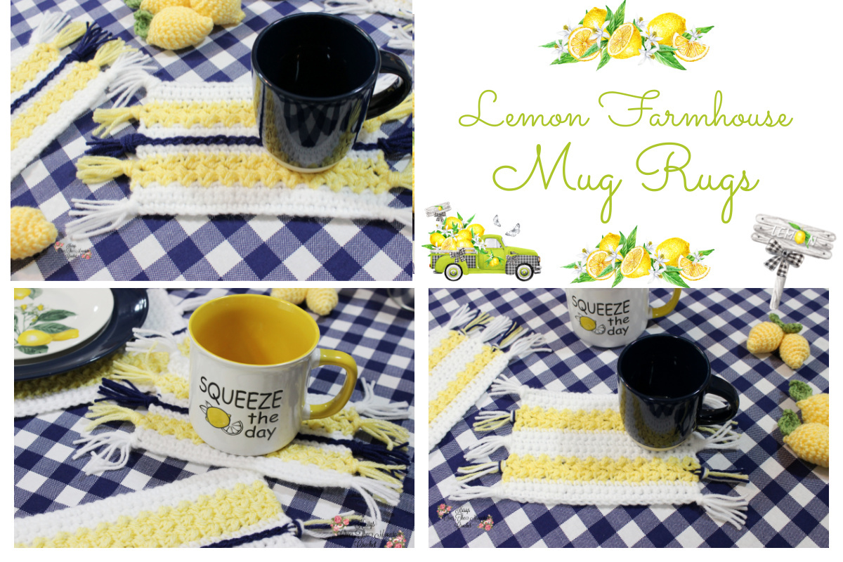 Farmhouse Mug Rugs are so fun, and you can crochet two different ones!