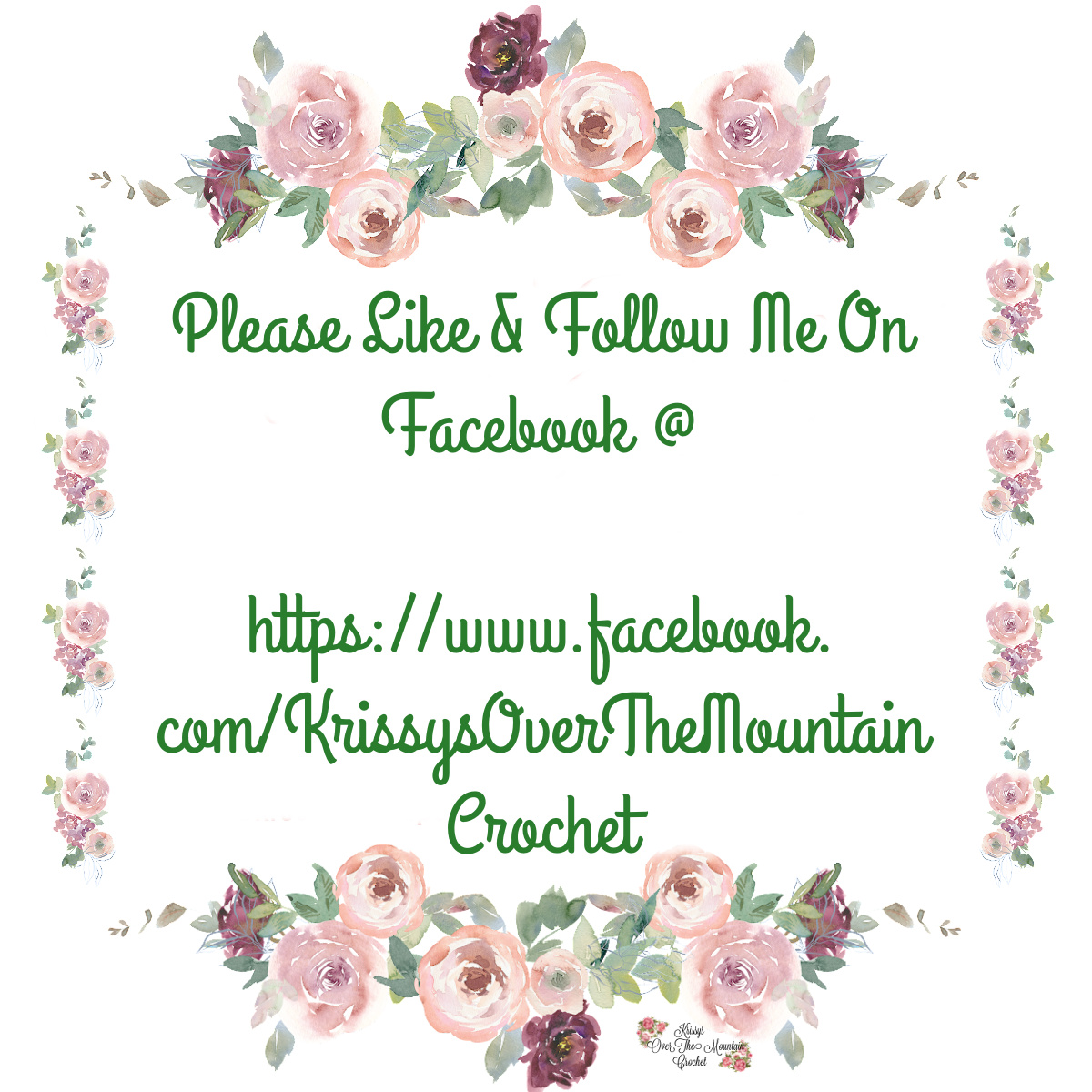 Please like and follow me @https://www.facebook.com/KrissysOverTheMountainCrochet