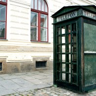Green telephone booth