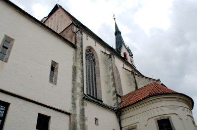 Looking up at outside of church