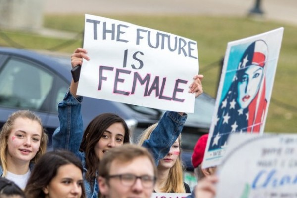 The future is female, sign at march