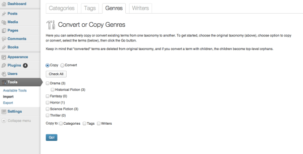 Importer page to copy or convert terms from one taxonomy to another